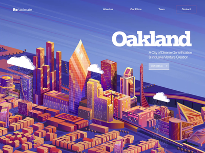Reanimate landing page ux urban renewal investment diverse gentrification diversity opportunity zone venture capitalist california oakland illustration parallax isometric city city isometric motion animation ui