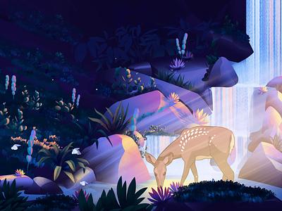 A L L 3 1 forest illustration nature illustration deer illustration animation nature butterfly lake deer illustration