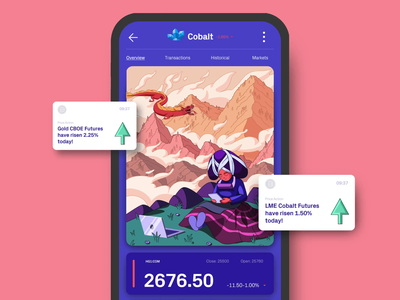 C M O D mobile investment tracker commodities stocks interactions transition animated transition motion animation illustrated app illustrations ui trading app