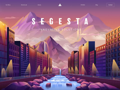 S E G E S T A tech laboratory nature mountain transition parallax illustration landing page animated transition ux motion ui animation