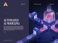 AI M machine learning landing page animated transition ux ui motion animation