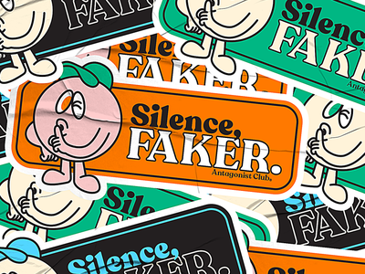 Silence, Faker. vintage badge lettering serif vintage logo retro design mascot silence stickers vintage sticker vintage mascot vintage retro