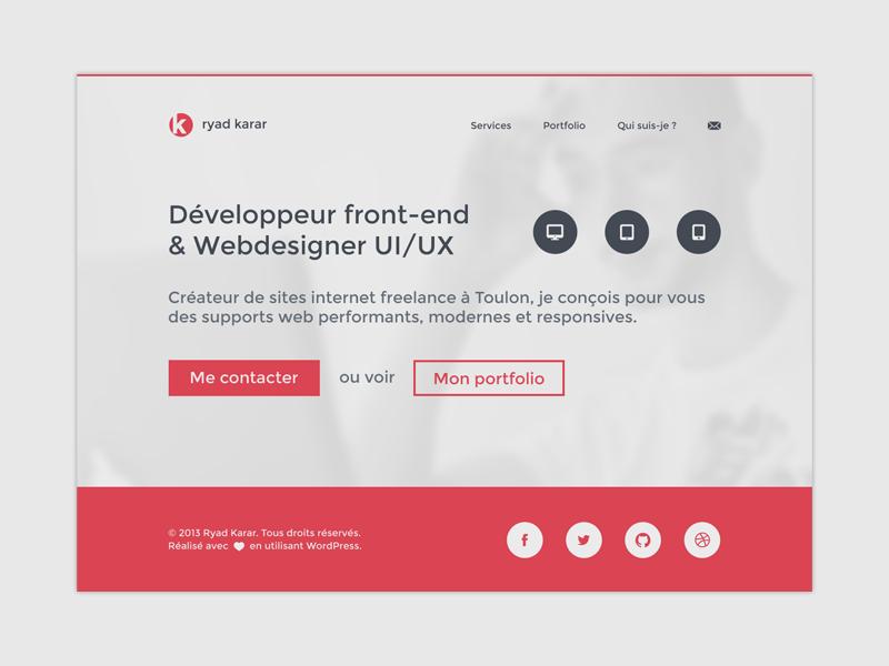 My new responsive website! personnal webdesign homepage flat minimalist web red website portfolio responsive