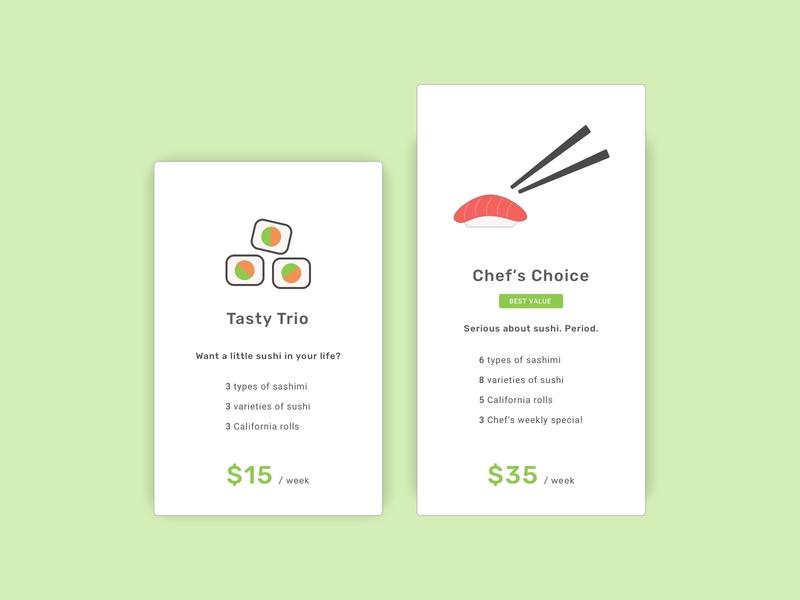 Daily UI | 30 - Pricing sushi pricing daily ui 030 daily ui challenge