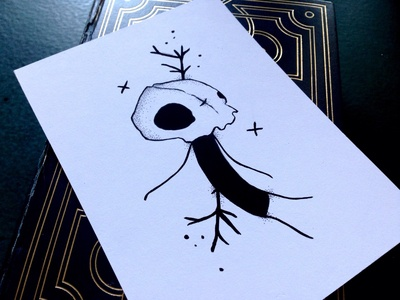 Ded pen ink gouache black  white character illustration