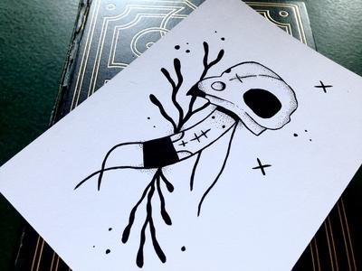 Ded pen and ink gouache character black white dotwork illustration