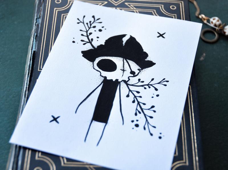 Ded pirate dotwork gouache ink pen illustration