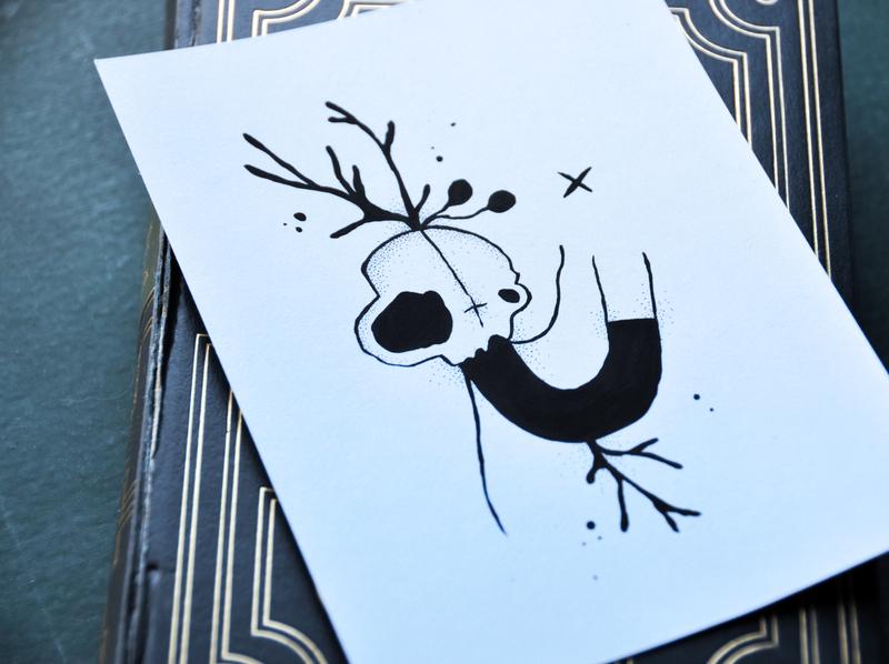Ded pen and ink pen floating illustration