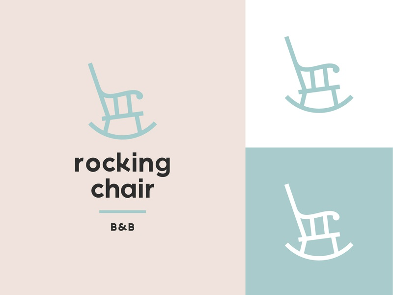 Rocking Chair B&B logo pink blue pastel soft minimal rocking chair chair bed and breafast bb