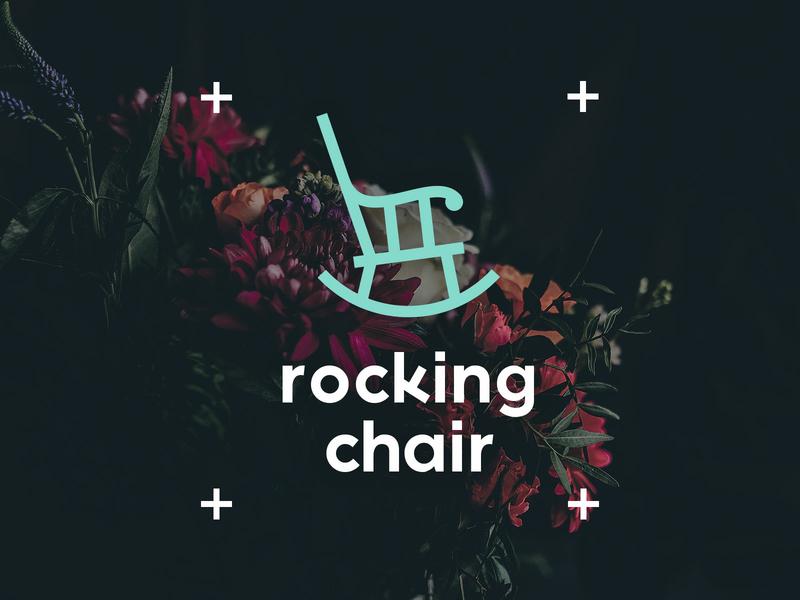 Rocking Chair B&B simplistic logo minimal logo simplistic minimal logo flowers pastel blue chair rocking chair