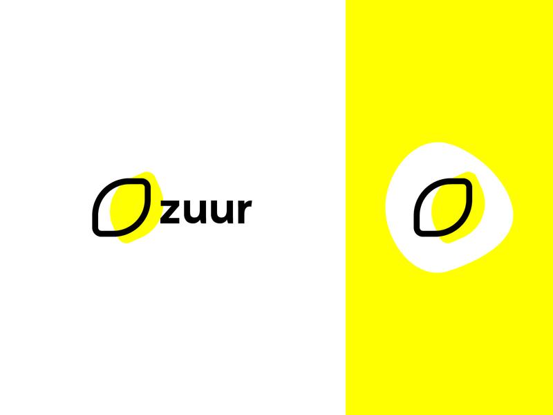 zuur black and yellow stylized lemon stylized logo simplistic logo minimal logo logo yellow lemon minimal zuur