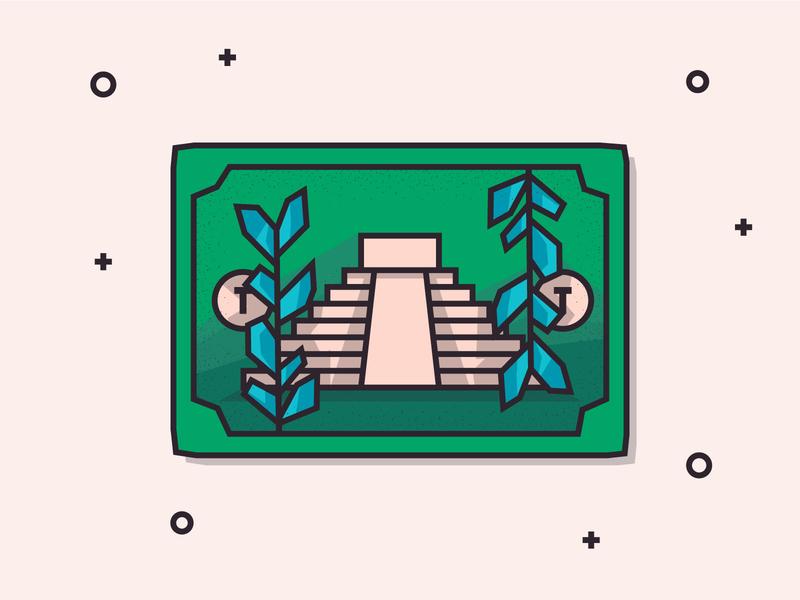 Mayan Bill money wip graphic design graphic blue green stroke minimal flat flat design illustration app bill temple mayan