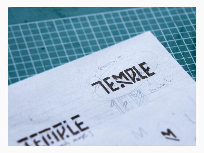"""Temple"" logo sketch lines temple aztec wip hand drawn graphic design design sketch logo"