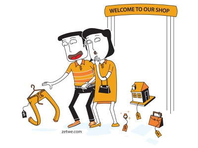 Couple Walk in a Shop fashion sell trousers department store ring bag house glamour rich money buyer store shopping love husband wife couple family