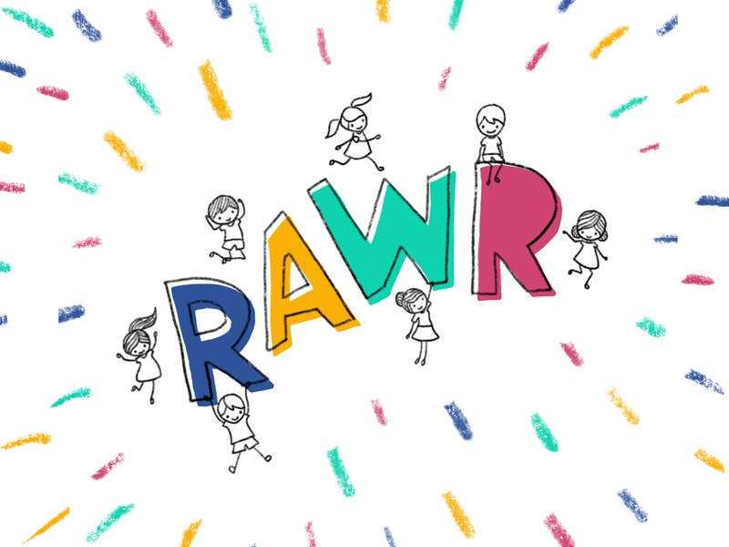 kids go RAWR child theme kid art kids brand doodle happy playful fun child crayon drawing sketch kids