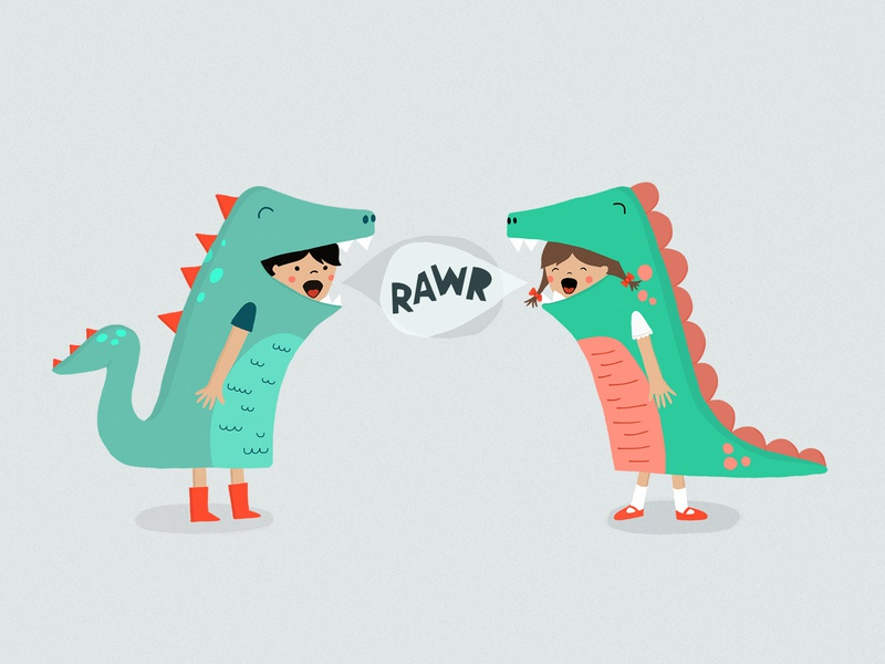 RAWR! friends sister and brother boy and girl illustration fun rawr kids art play costume dinosaur dino kids in customs kids