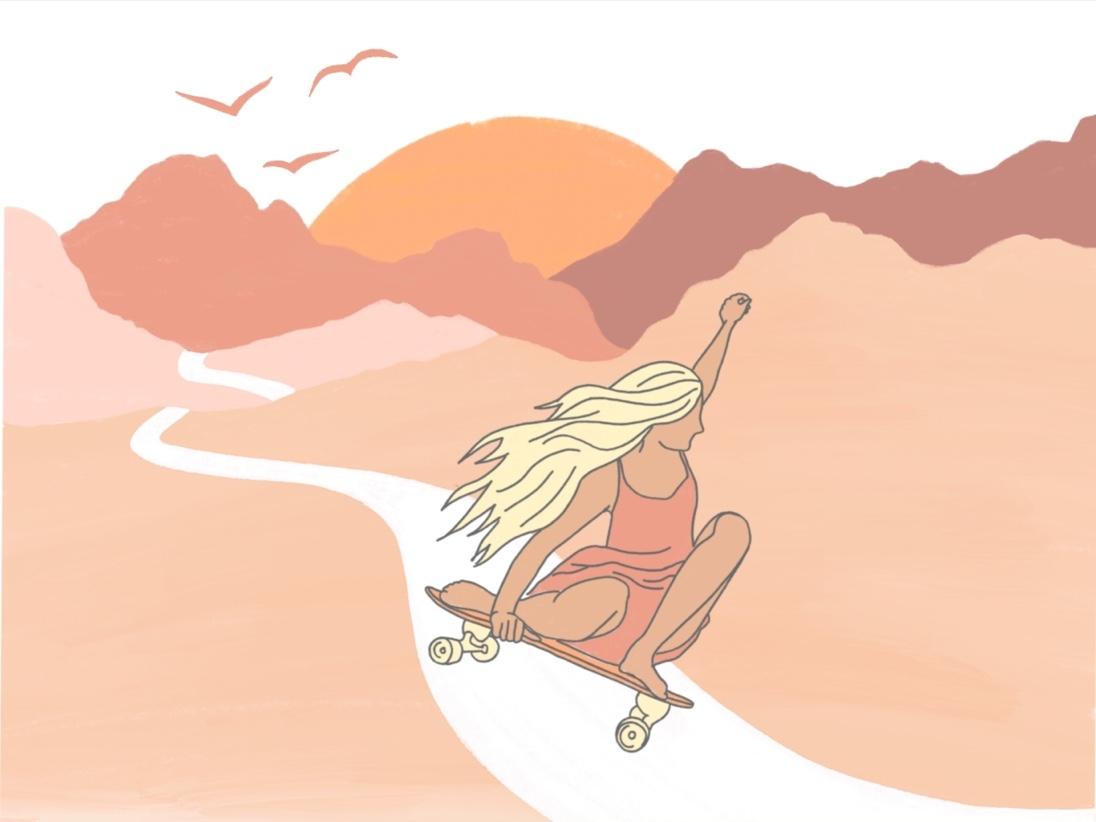 Girl Skateboarder hawaii downhill skater skateboarder skateboard skater girl girl skateboarder girl sunset mountains