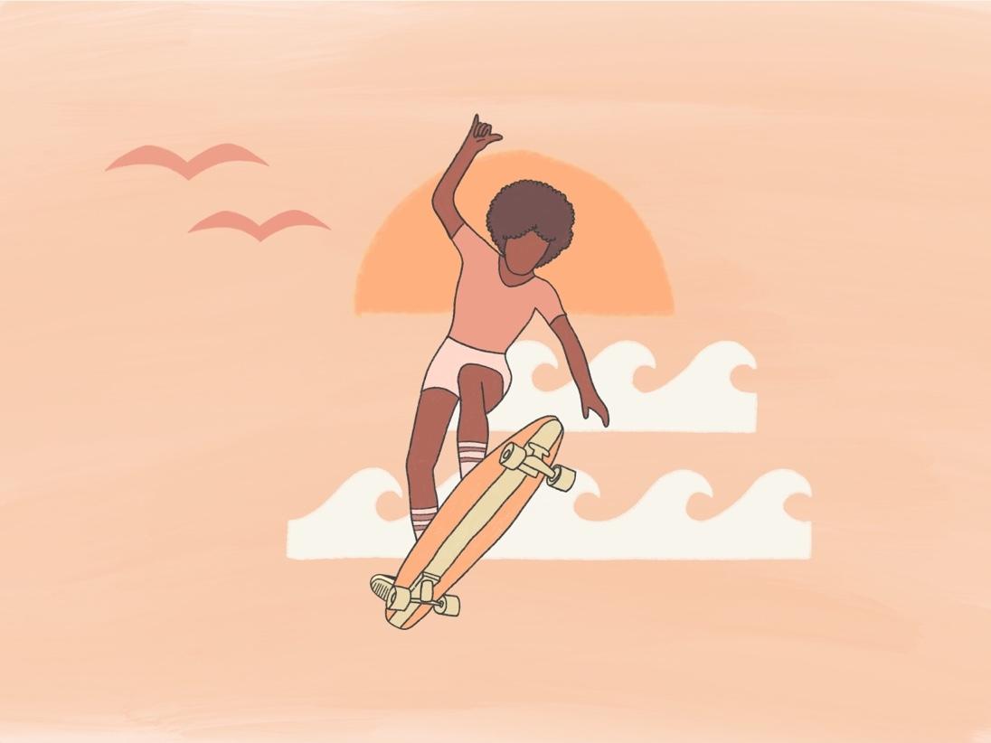 Shaka Brah! skater hawaii california afro black woman black skateboarder girl skateboarder skateboarding art skateboarding shaka