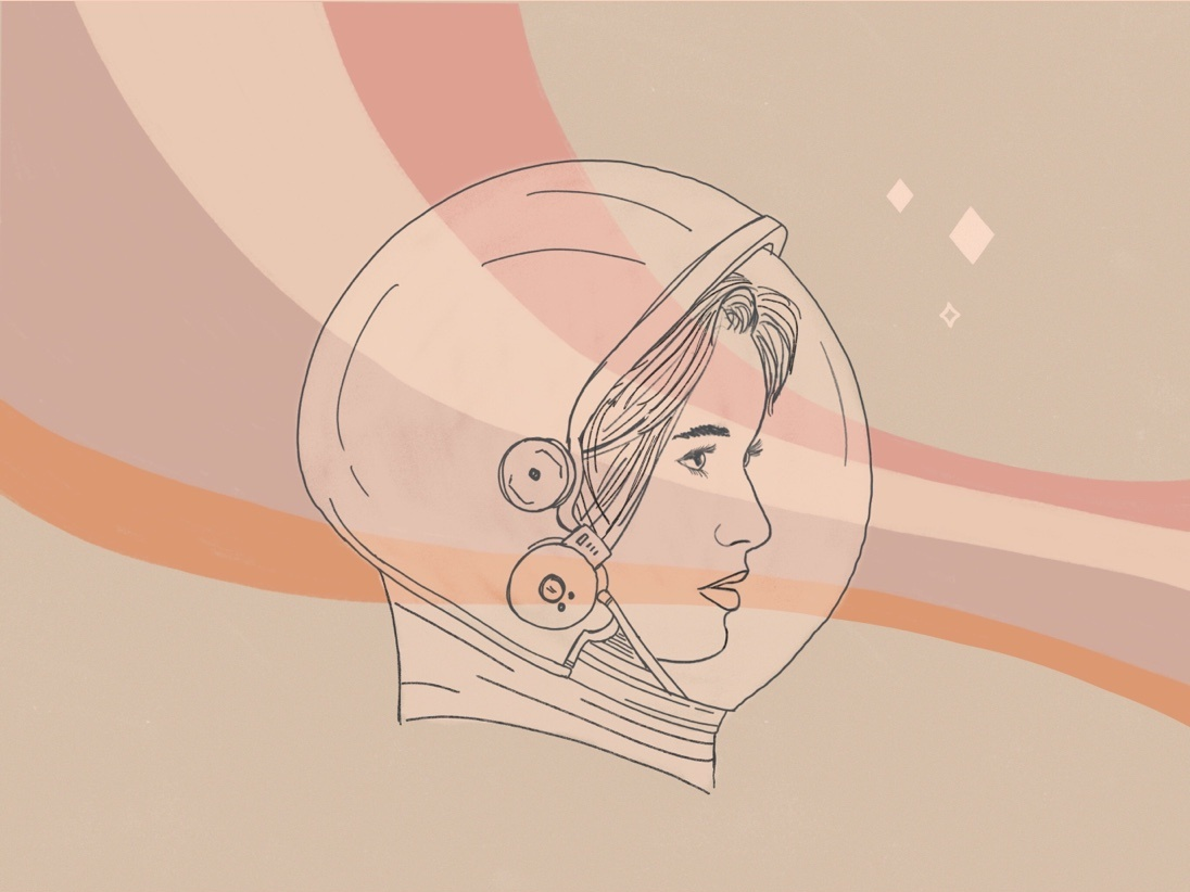 Space Girl retro woman astronaut sketch drawing illustrations sketches astronaut girl astronaut girl woman stars space helmet outerspace outer space space