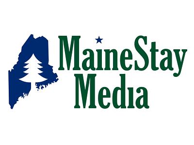 MaineStay Media logo maine branding gloucester mt extra condensed blue green pine tree star tree umbrella media unused concept logo