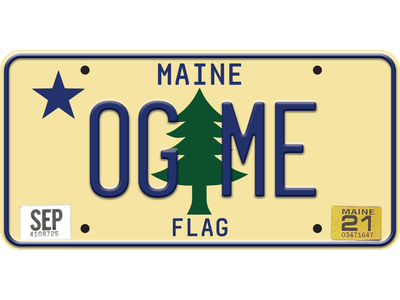 Maine Original Flag License Plate specialty plate plate realtime rounded driver gothic 1901 me og original maine flag flag maine flag maine license plate
