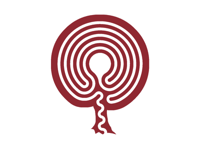 Placentalabyrinth Logo 8f2831 placentalabyrinth negative space prototyping processing midwife doula labyrinth placenta monochrome burnt umber logo