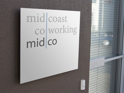 Midco Coworking Exterior Signage minion myriad square signage sign coworking space coworking