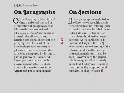 ¶, §, C, And All That § ¶ vollkorn drop cap typography pilcrow section paragraph tschichold folio canon golden ratio