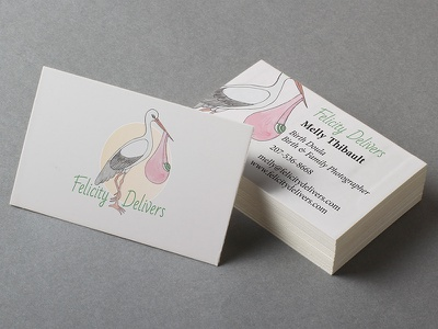 Felicity Delivers Business Card bad script minion print logo business card photographer doula