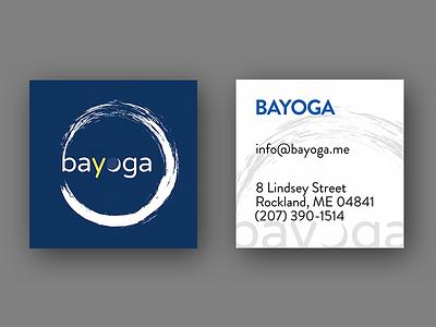 Business card for a yoga studio business card square zen circle yoga brandon grotesque varela round paris daisy moon enso circle biscay