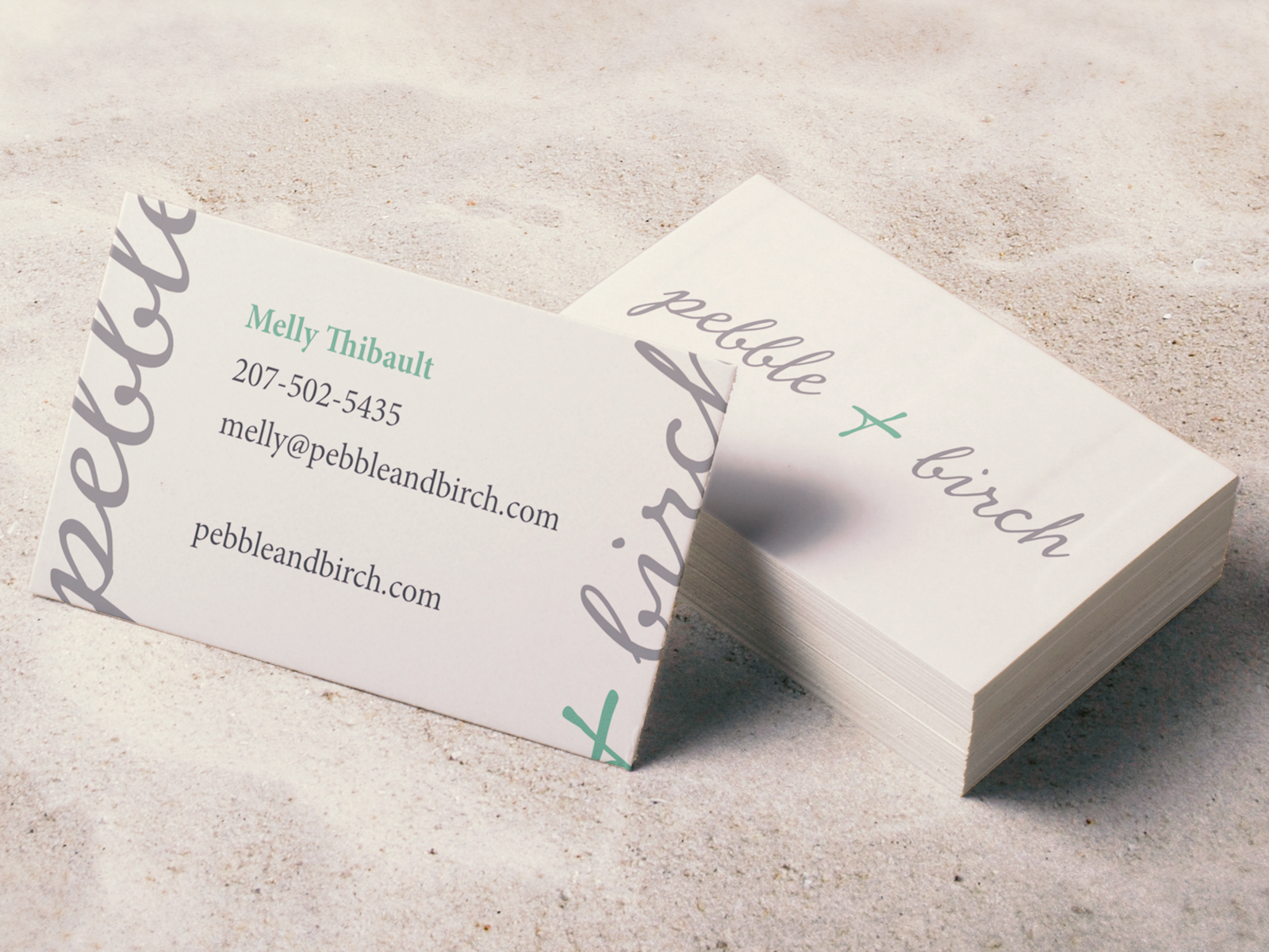 Pebble and birch business card for dribbble hires