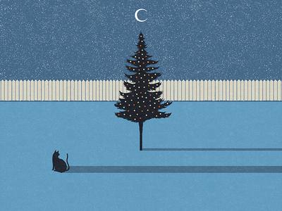 Christmas andrius banelis illustration postcard night moon christmas tree christmas cat