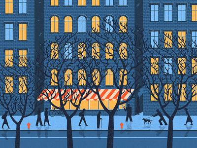 City Street social walking walk tree trees andrius banelis night street people window windows illustration