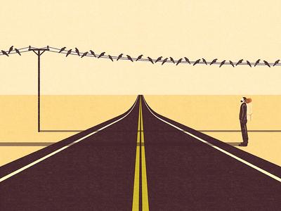 Traveler discovery life bagpack desert birds journey travel road trip