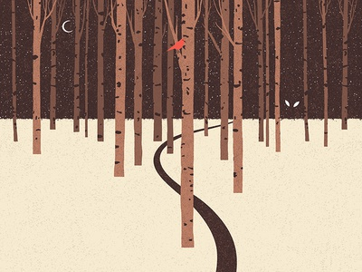 In The Forest road danger eyes moon textures tales fairy tales illustrations night birds bird forest