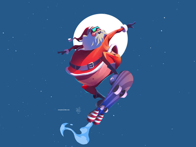 Santa Collaboration with Sam Ji content creation animated video animation animated gif fun gif gif animation moon moonlight motion graphics motiongraphics motion design collaborative collab collaboration christmas skateboarding skateboard graphics skateboard santa