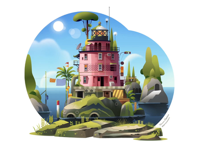 Dream Team Collaboration: Lighthouse Four clouds island sea blue sky collaborative collaboration water pink spaceship rocketship lighthouse plants trees animation animation design sound design sound illustration art motion design motion graphics