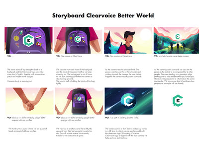 Clearvoice Better World, Better Content Illustrated storyboard behindthescenes storyboard storyboarding storyboard artist sketching sketch drawing ideas voice over animation illustration project learning planning planner template inspiration design art sneak peek motion graphics motion animation
