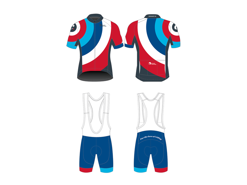 CY Personal Kit v2 circle blue red roundel cycling jersey cycling kit cycling