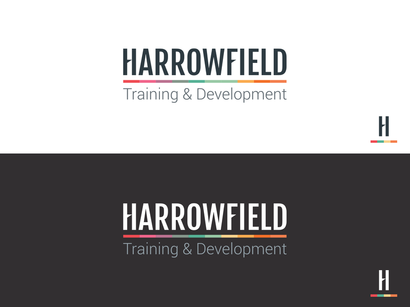 Harrowfield Logo multicolor development training wordmark