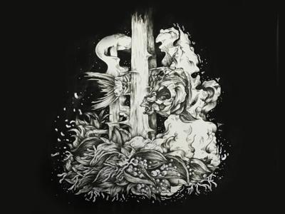Ink illustration_Fish forest