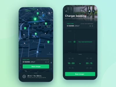 Seamless EV charging experience user inteface interface dark ui app application mobile ev vehicle charge points communication booking ux ui map destination road ecosystem