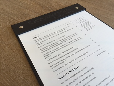 Governors Lunch Menu typography graphic design bar menu embossed lunch restaurant
