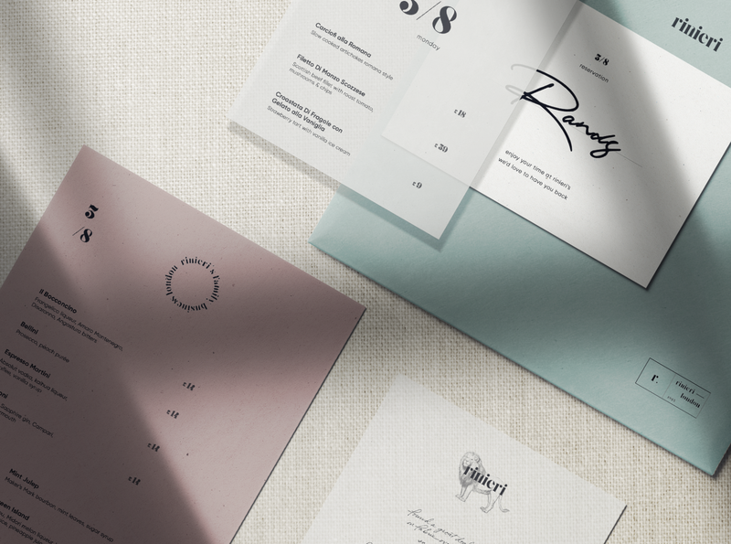 Rinieri Restaurant Menu italy engraving menu card menu restaurant lion logo illustration flat branding typography white product design digital design minimalism