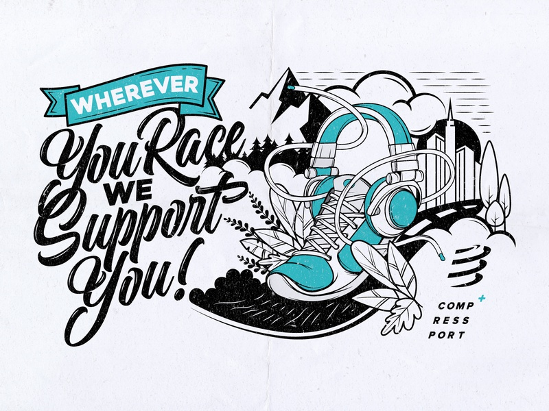 Wherever You Race apparel tee nature music headphones city forest mountain compressport shoe illustration health fitness sport running run outdoors trail