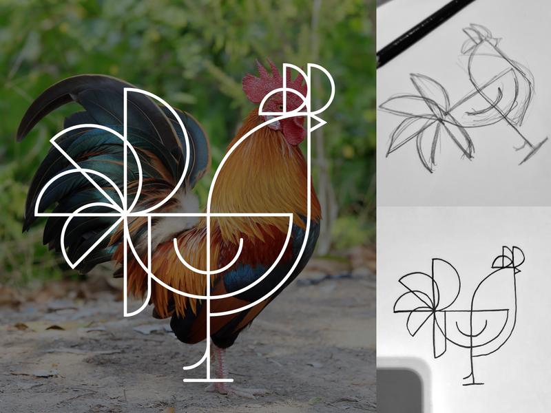 Jongwe ideas simple freelance africa graphic design illustrator rooster logo geometric minimalism minimal line illustrations line icon branding logo designer logo chicken rooster