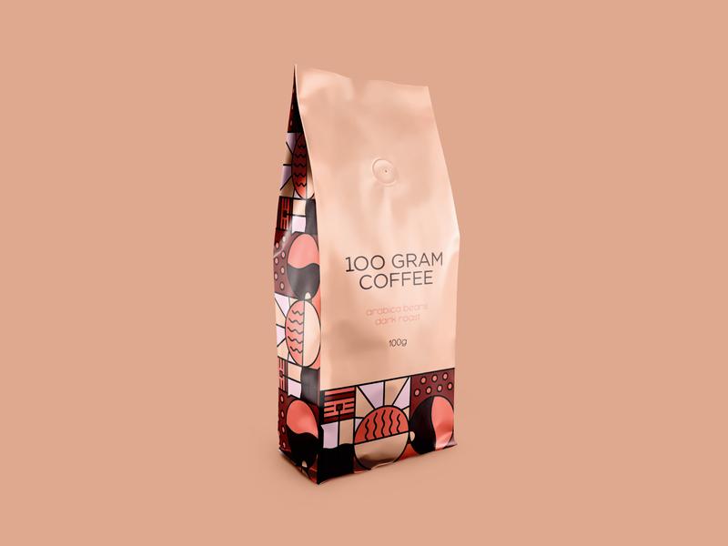 100 Gram Coffee Bag ukraine zimbo freelance logo design packaging branding design brand identity branding coffee shop coffee logo coffee beans caffeine coffee bag café coffee