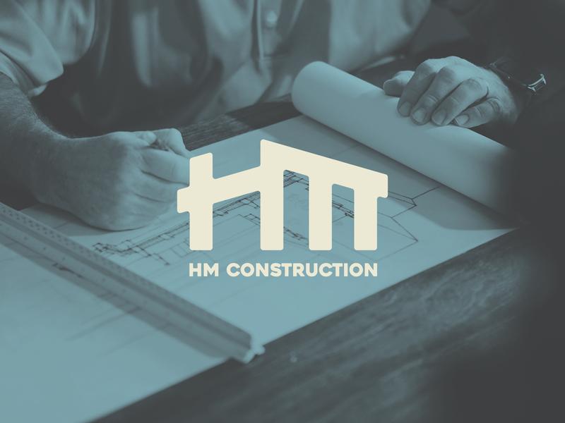 HM Construction logo design architecture zimbo design graphic design typography construction logo freelance minimal logo mark branding logo design logo designer logo letters lettering monogram france reunion island building construction