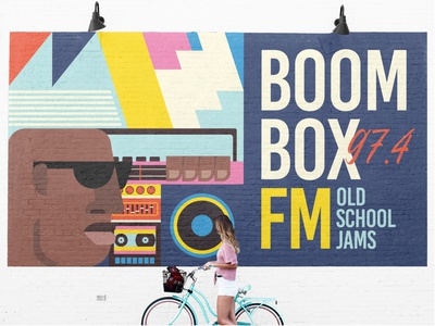 Boombox Mural vector illustrator beats south africa freelance 90s old school zimbo africa african radio fm radio mural design streetart illustration music boombox mural