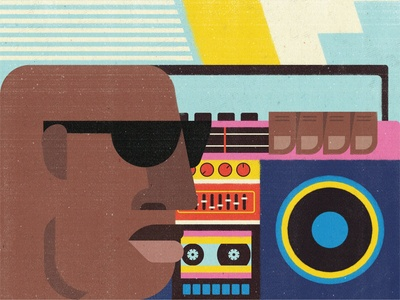 Boombox Days illustrator geometric art vector art zimbo zimbabwe south africa african illustration podcast art podcast dj music boombox